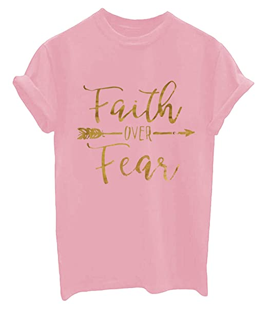 cc107348 Amazon.com: Enmeng Womens Faith Over Fear Graphic T-Shirts Casual Christian Shirts  Tee Tops (S, Pink): Clothing