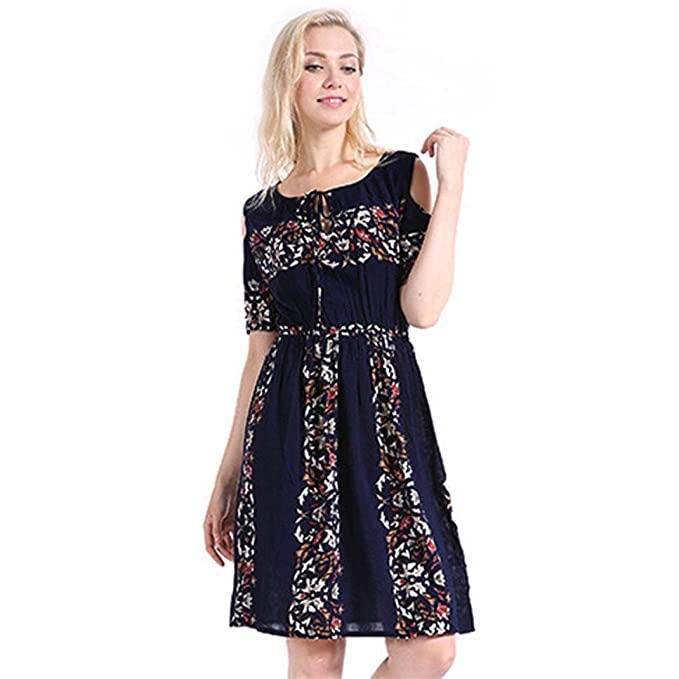93fdcf4a6610 DRESS start 20er Jahre Kleid Damen Print Plus GrößE Folk Custom O-Neck  Gothic Rockabilly Marine