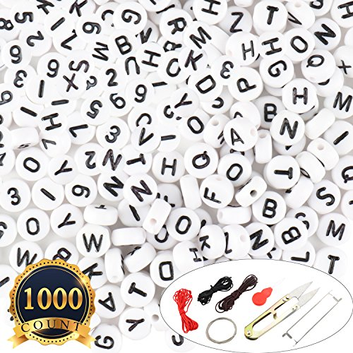 Word Beads Set - SUBANG 1000pcs 4x7mm Acrylic White Round Letter Number Beads for Bracelets and Jewelry Making,with & Pouch&Thread Set