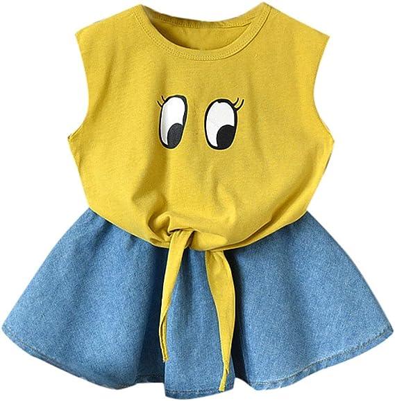 Mbby Tuta Bambina Ragazze Estate 2-7 Anni Completo Bambino Ragazza 2 Pezzi Tute Pantaloncini Maglietta con Cinturino Senza Manica Balze A Righe Set Cotone