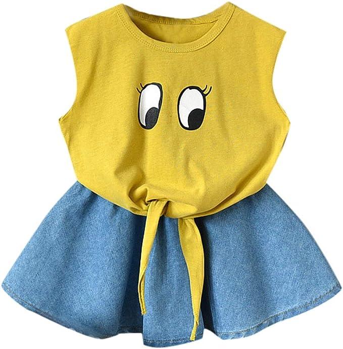 Tops y Falda para bebé niñas, Verano Camiseta sin Mangas Algodon ...