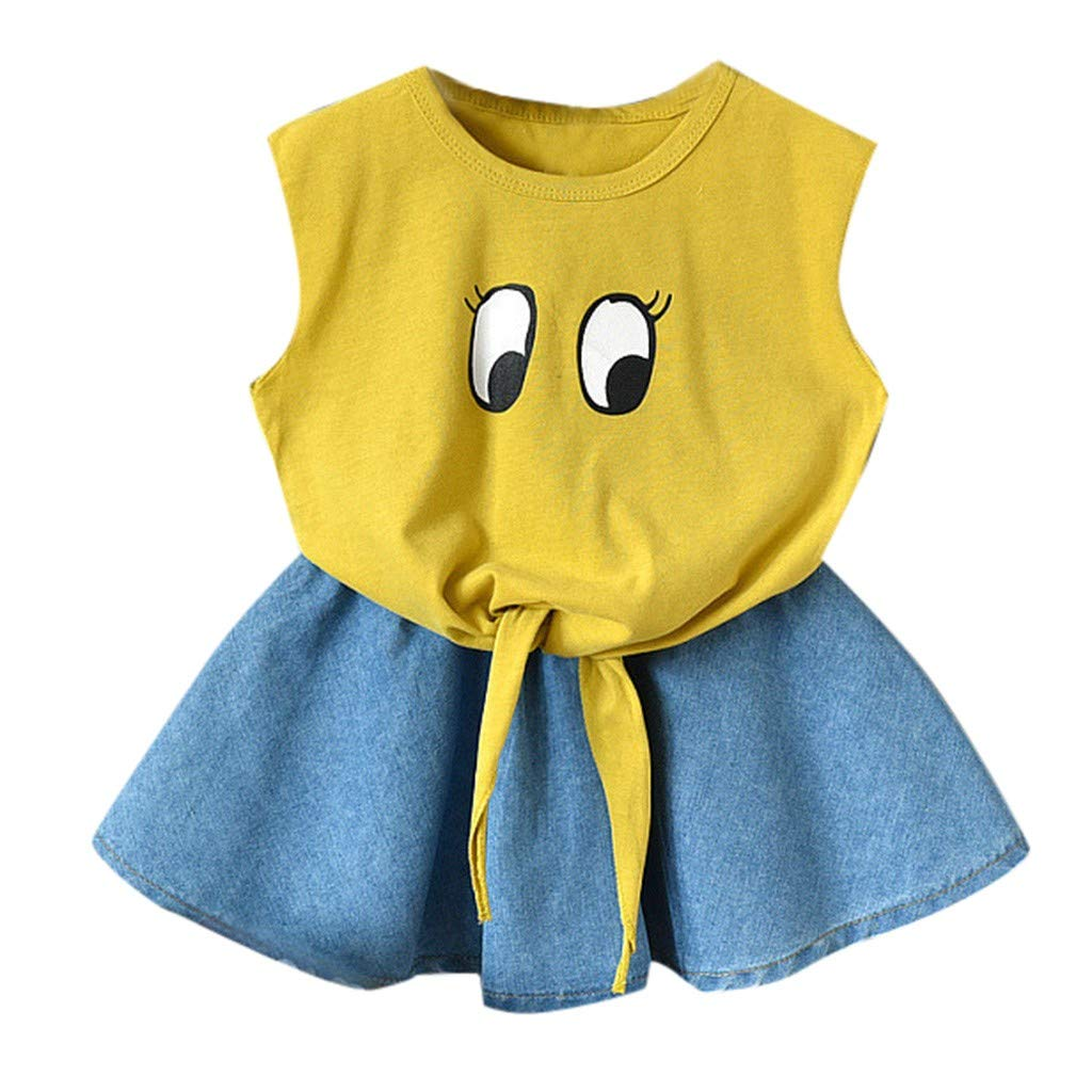 Children Girls Sleeveless Cartoon Eye Print Vest Tops+Denim Skirt Set Outfit Yellow