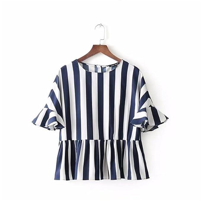 XMY Decoración es Elegante Mujer de Manga Corta de Rayas Camiseta Camisa y Camiseta, el