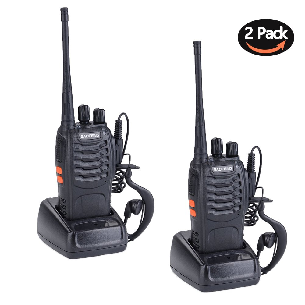 BF-888S Walkie Talkies for Adults Long Range 16 Channel Rechargeable Two Way Radios with Original Earpiece Li-ion Battery and Charger (Pack of 2)