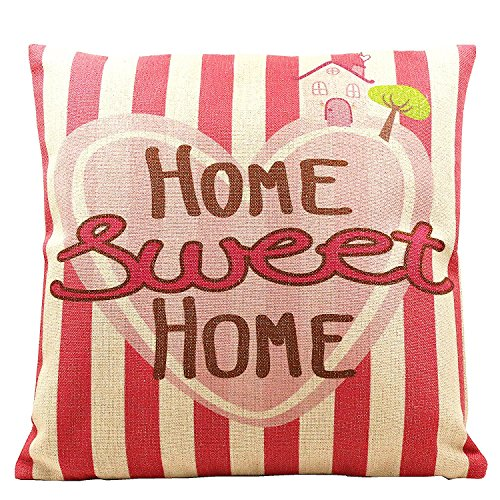 Wise Bird Design Easter Holiday Home Sweet Home Cotton Linen Square Decorative Vintage Throw Pillow Case Sofa Waist Home Store Couch Bed Decor Cushion Cover Pillow Case 18 'X18 '-P003
