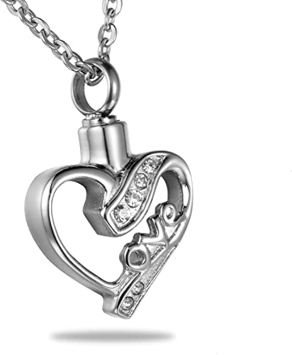 Three CZ Hearts Cremation Jewelry Keepsake Pendant Urn Memorial Necklace Funnel