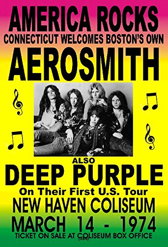 Aerosmith Rock Concert Poster 1974 Plus Deep Purple New Haven Coliseum This is a Clear Crisp Sharp Copy NOTE: MADE IN THE (Crisp Sharp)
