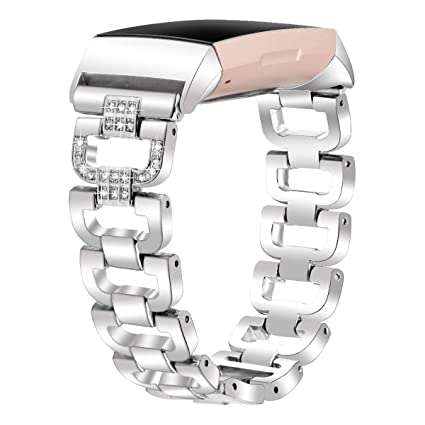 YOOSIDE for Fitbit Charge 3 Band,D Design Bling Crystal Stainless Steel  Metal Adjustable Bracelet Wristband Strap Band for Fitbit Charge 3/Charge 3  SE
