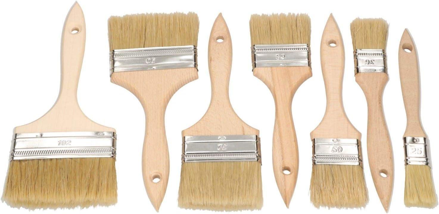 KOTARBAU Pincel de pintura con mango de madera todos los tama/ños cerdas resistentes pintura acr/ílica pincel plano para barnizar pintura lavable