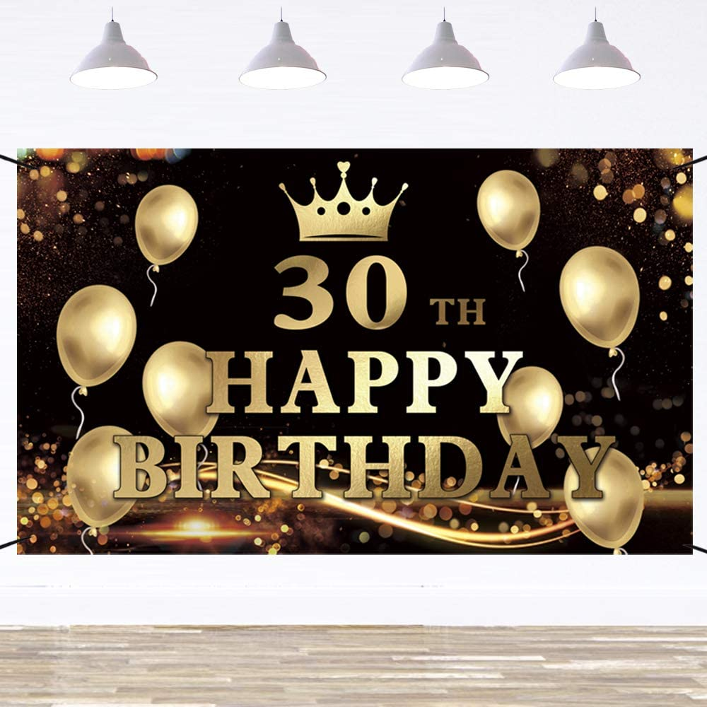 Amazon Com Ushinemi Happy 30th Birthday Banner Backdrop 30 Birthday Party Decorations With Crown And Balloons Sign Black And Gold 6x3 6 Feet Toys Games