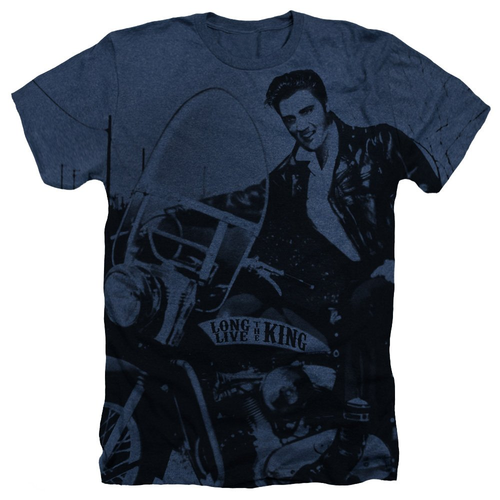 Elvis Presley Men's Riding Like A King T-shirt XX-Large Navy