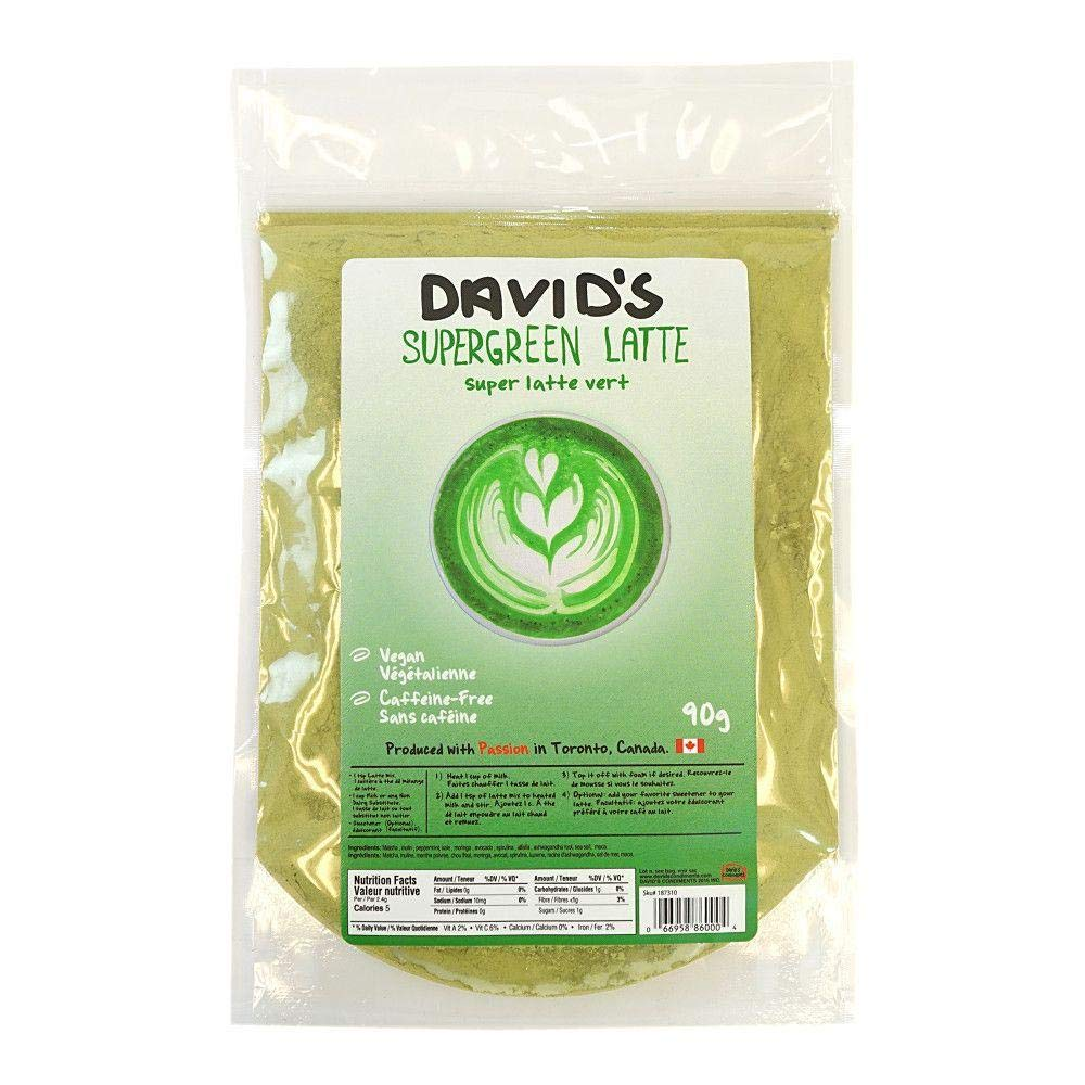 David's Condiments All Natural Green Latte Mix, 90g (3.17oz) | Caffeine-Free Coffee Alternative, Made of Superfoods, Matcha, Peppermint, Kale, Vegan, Paleo, Dairy-Free, Smoothies, Yogurt & More