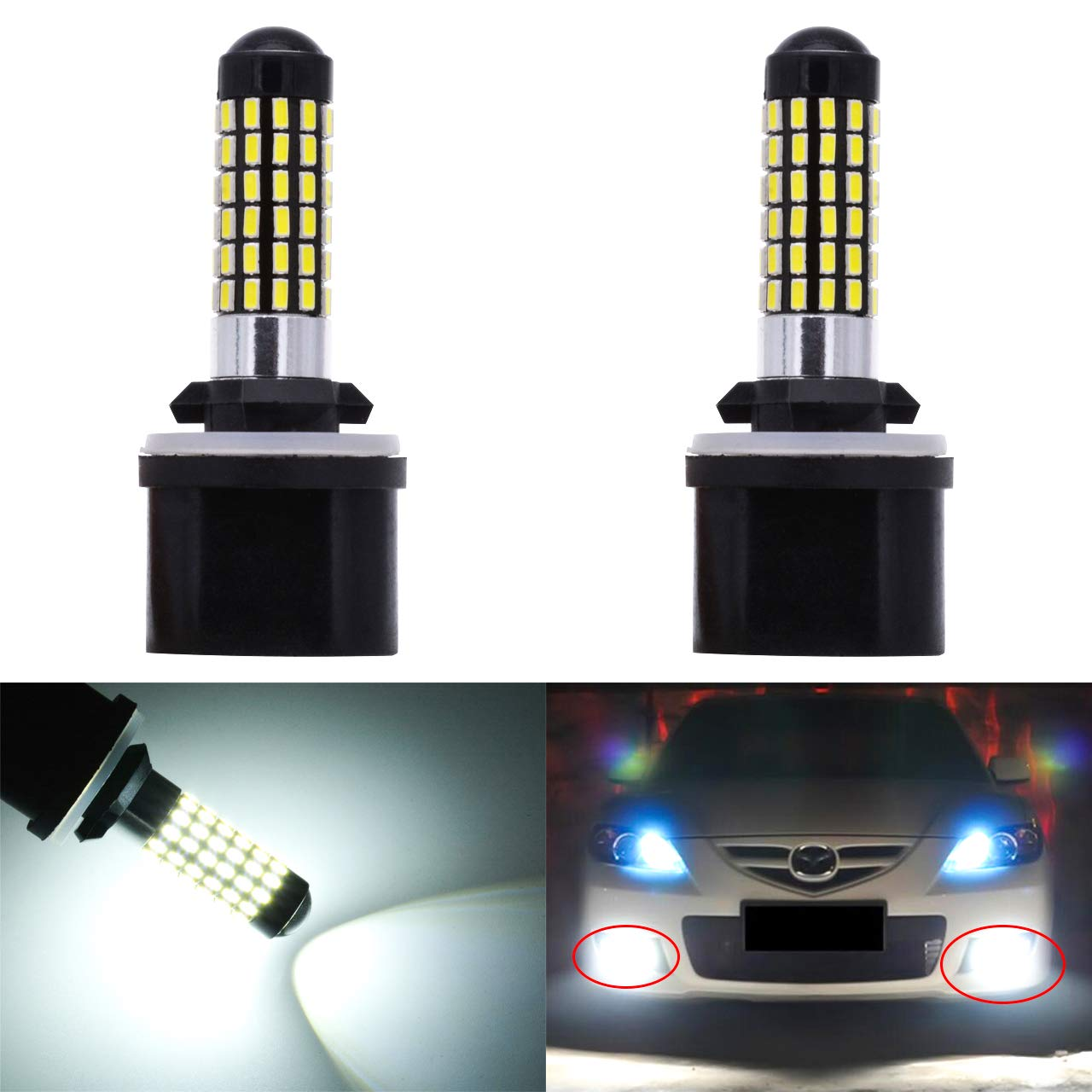 KaTur Extremely Bright 900 Lumens 3014 78-EX Chipsets 894 881 886 889 896 898 Led Bulb DRL Fog Lights Xenon White (Pack of 2) 2AM-CL-374-881-White