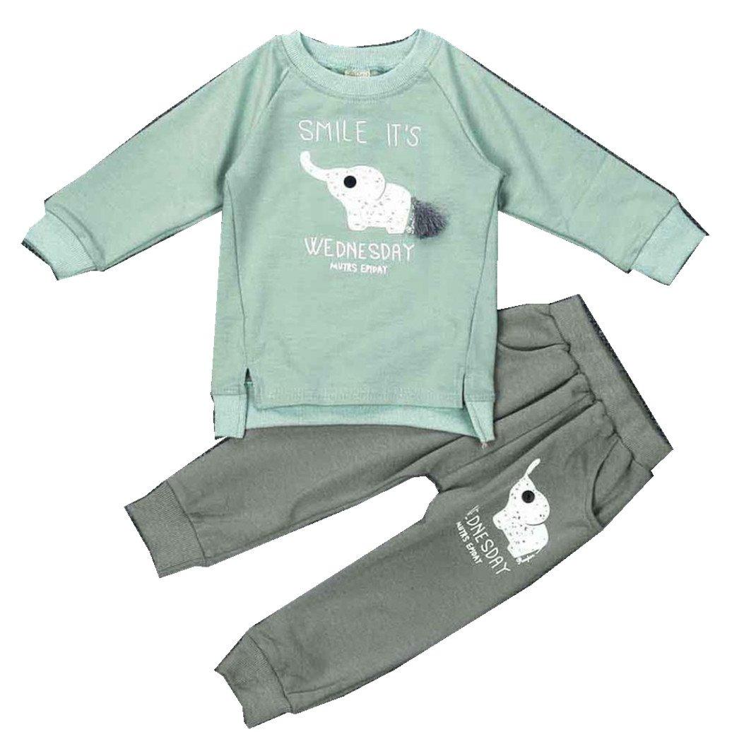 Elevin TM Kid Girls Boys Paint Letters Long Sleeve Sweater+Sports Pant Suit