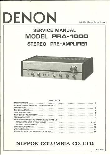 Denon Model PRA-1000 Service Manual: Stereo Pre-amplifier: Denon