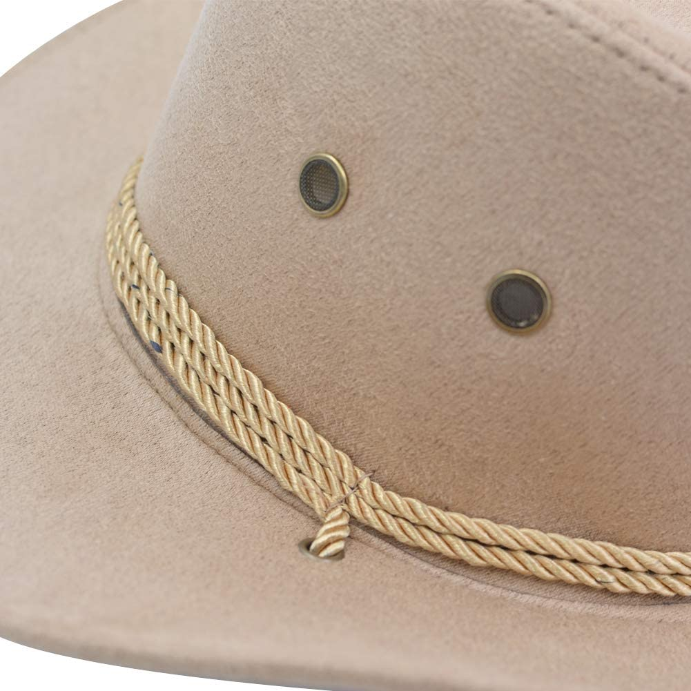 Yosang Adult Western Suede Hat Cowboy Outdoorsman Hat Travelling Summer Cap