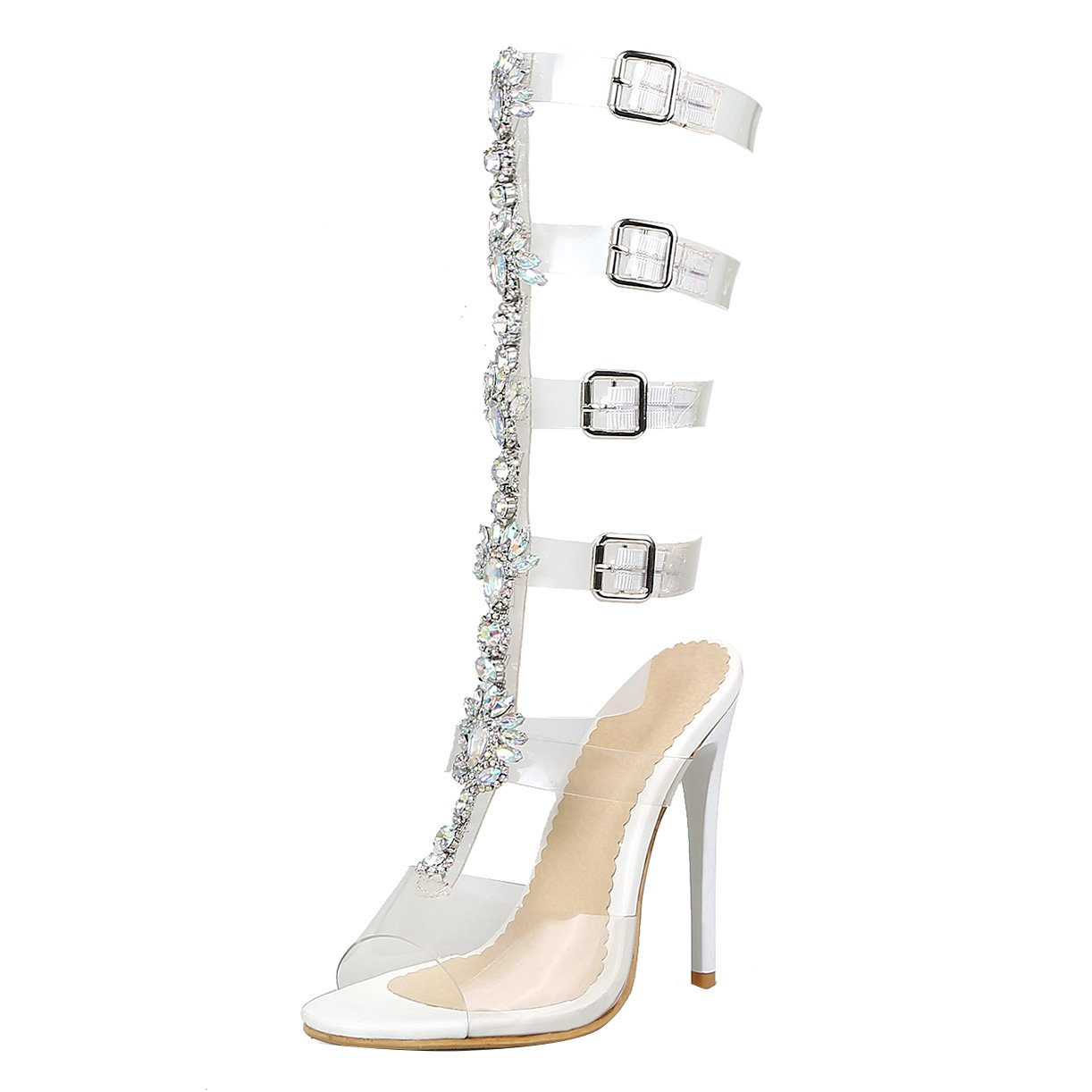 JYschuhe Stiletto High Heels Römersandalen Frauen Hoch Sommer Transparent Sandaletten mit Strass and Schnalle Fashion Schuhe Damen