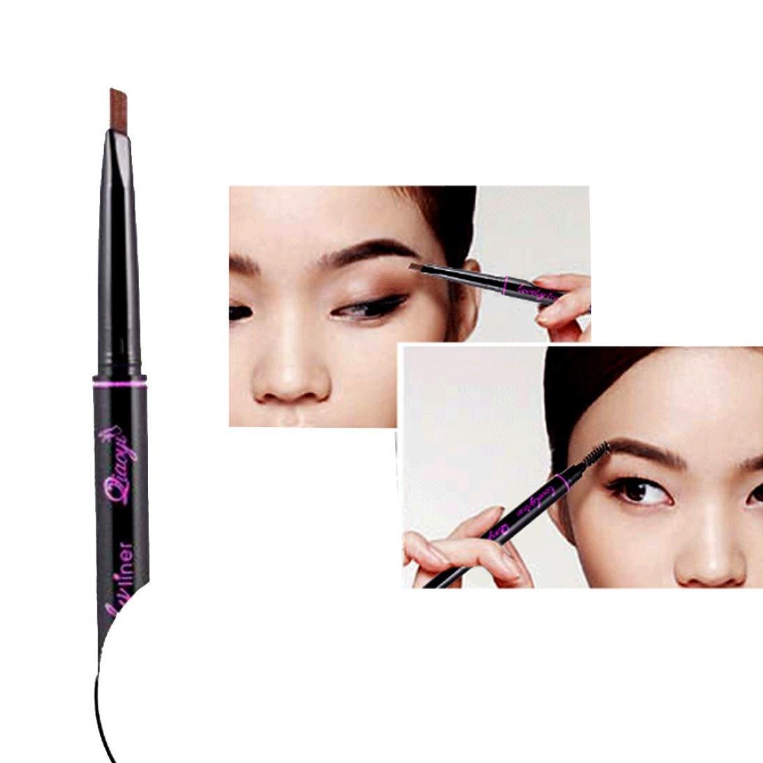 CYCTECH Double-Headed Waterproof Eye Brow Eyeliner Eyebrow Pen Pencil With Brush Makeup Cosmetic Tool (Dark Coffee)