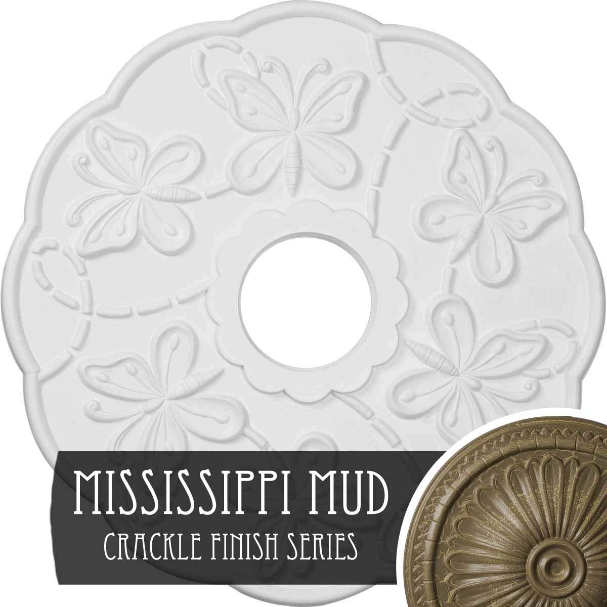 Ekena Millwork CM17TSMMC Terrones Butterfly Ceiling Medallion, Mississippi Mud Crackle
