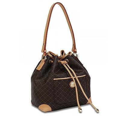 Amazon.com: Rioni Signature Brown Shoulder Drawstring Bag by Rioni ...