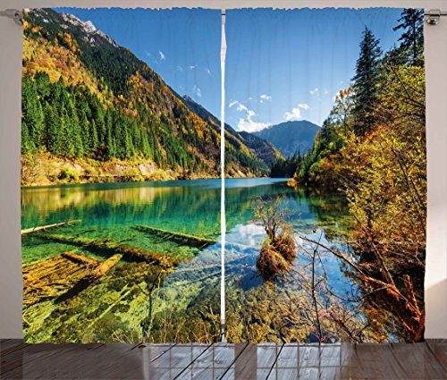 (Ambesonne Outdoor Curtains, Scenic View Arrow Bamboo Lake Among Mountains and Colorful Fall Woods China, Living Room Bedroom Window Drapes 2 Panel Set, 108W X 84L Inches, Blue Green Yellow )