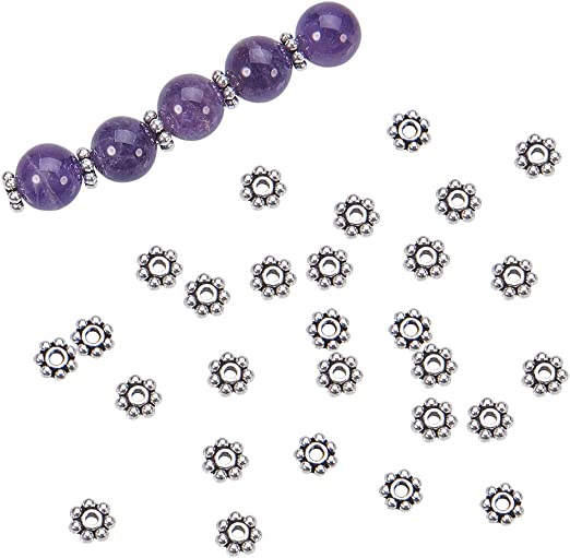 100 pce Metal Antique Silver Daisy Spacer Beads 8mm Jewellery Making Craft