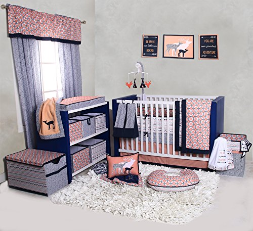 Bacati-Tribal-10-Piece-Nursery-in-a-Bag-Crib-Bedding-Set-with-Bumper-Pad-100-percent-cotton-percale-Girls-Crib-Bedding-Set-with-Bumper-Pad-for-US-standard-Cribs