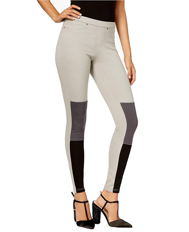 HUE Women's Colorblocked Denim Leggings, Steel Gray (L)
