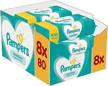 Pampers Sensitive - Toallitas húmedas bebé, 8 paquetes, 640 ...