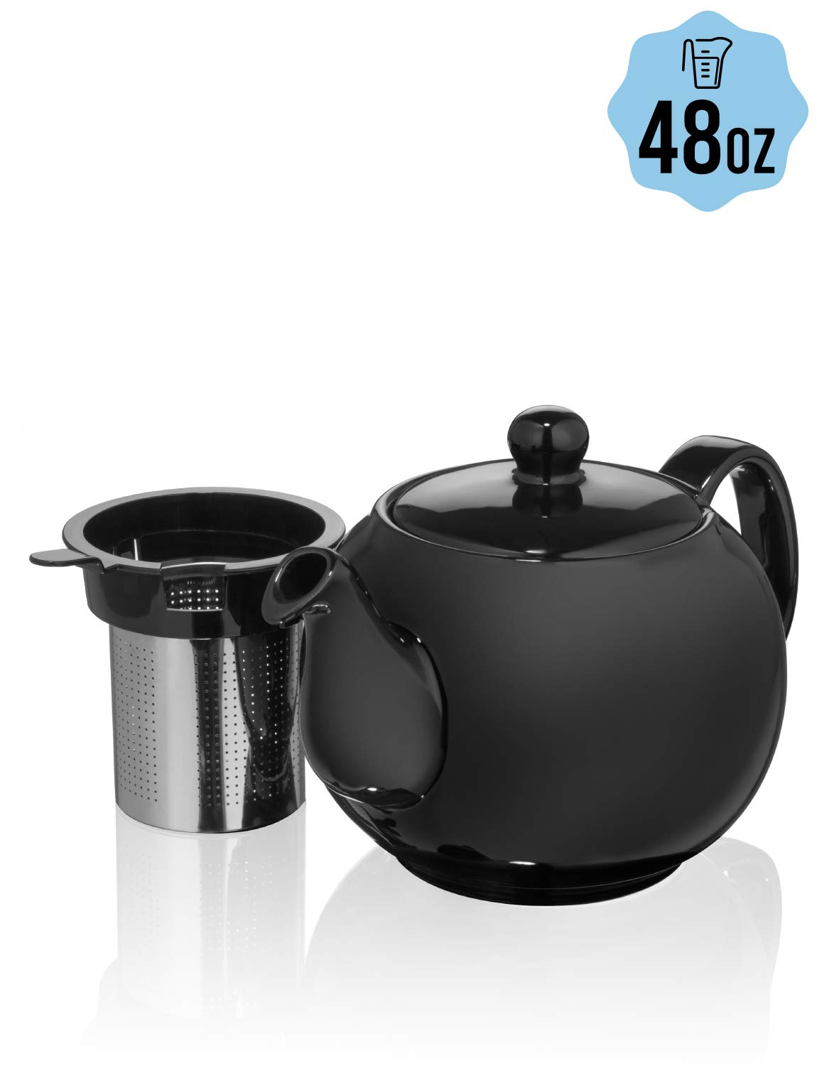Saki Large Porcelain Teapot with Removable Stainless Steel Infuser, 48 ounce tea pot (Black) by Saki