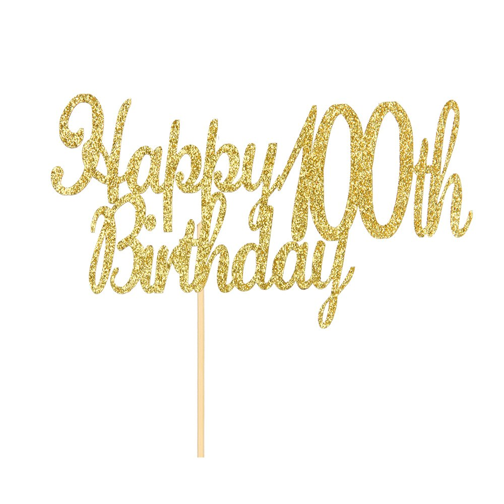 Happy 100th Birthday Cake Topper Gold Glitter Hello 100 Fabulous Anniversary Party Decoration