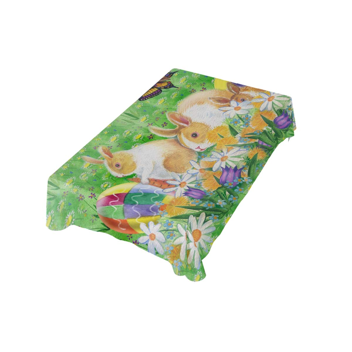 Naanle Easter Bunny Rabbit Spring Floral Butterfly Rectangle Tablecloth 60 L Easter Holiday Modern Table Linen Cloth Cover for Kitchen Dining Room Party Home Decor x 108 W