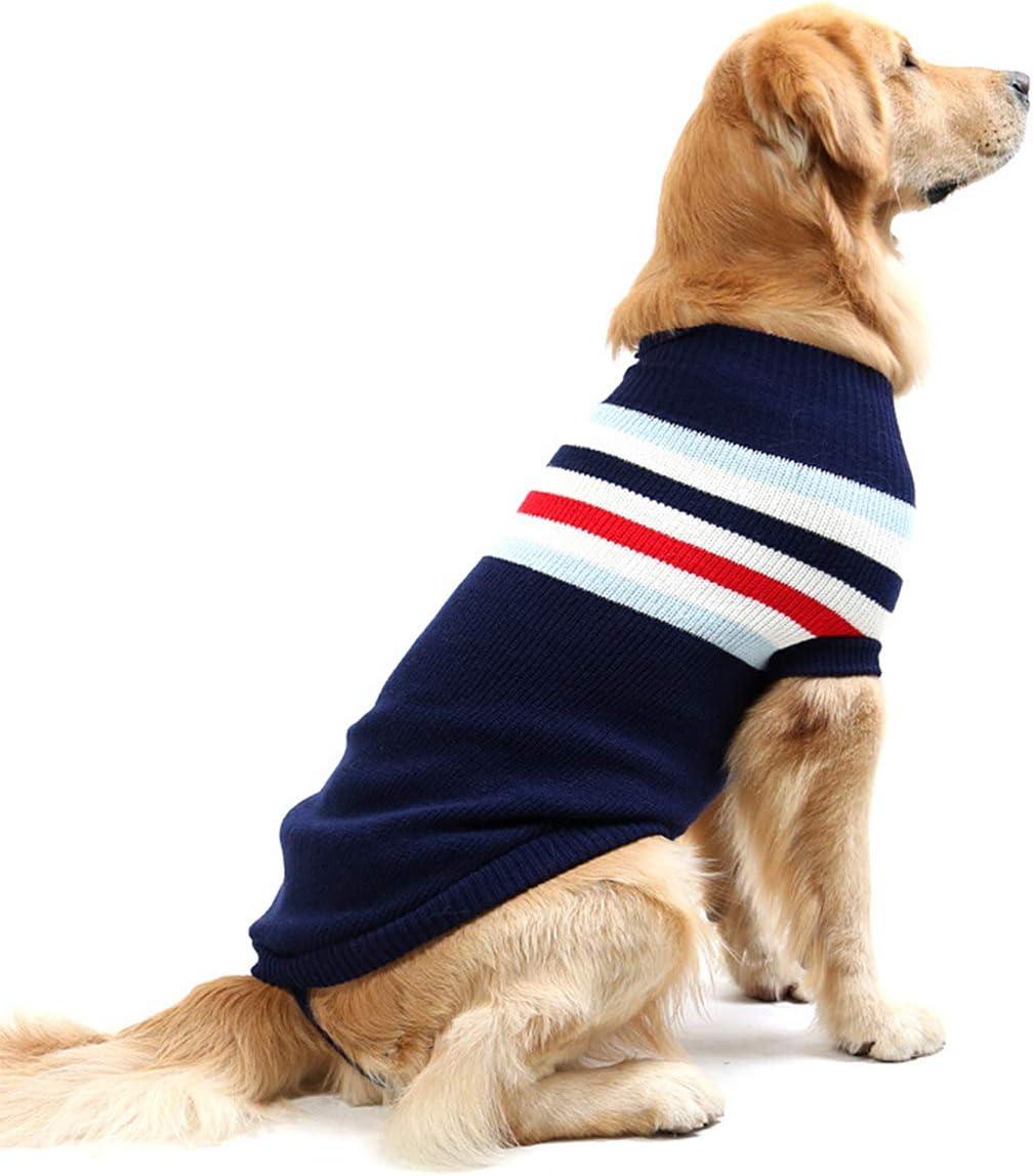 Chaleco para perro a rayas de moda, abrigo, suave, de lana, para invierno, para perros pequeños y medianos grandes