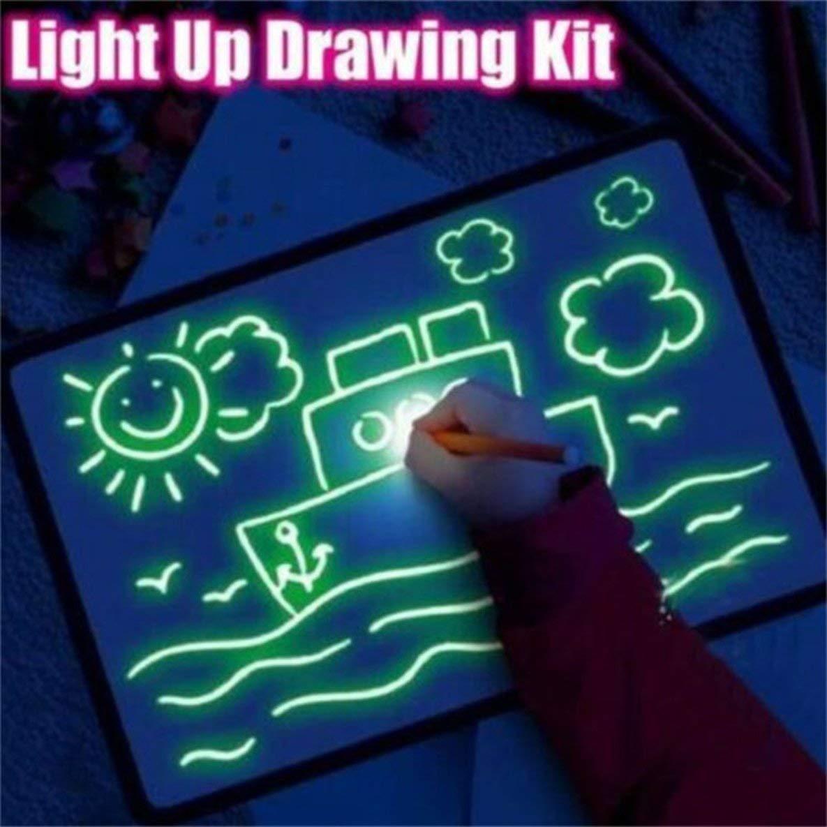 Draw With Light Fun Tablero de dibujo Tablero luminoso Tablero de dibujo para ni/ños Magic Glowing Magic Graffiti Tablero de dibujo para ni/ños//Multicolor//150x20x21