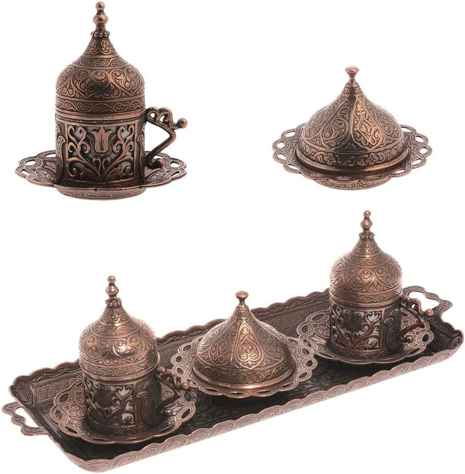 Alisveristime Ottoman Turkish Greek Arabic Espresso Coffee Cups with Saucer and Lid (Set of 2) (Lale) (Copper)