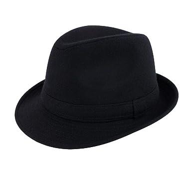 ACVIP Men s Solid Color Faux Wool Short Brim Fedora Trilby Hat (Black) a0449d7d3538