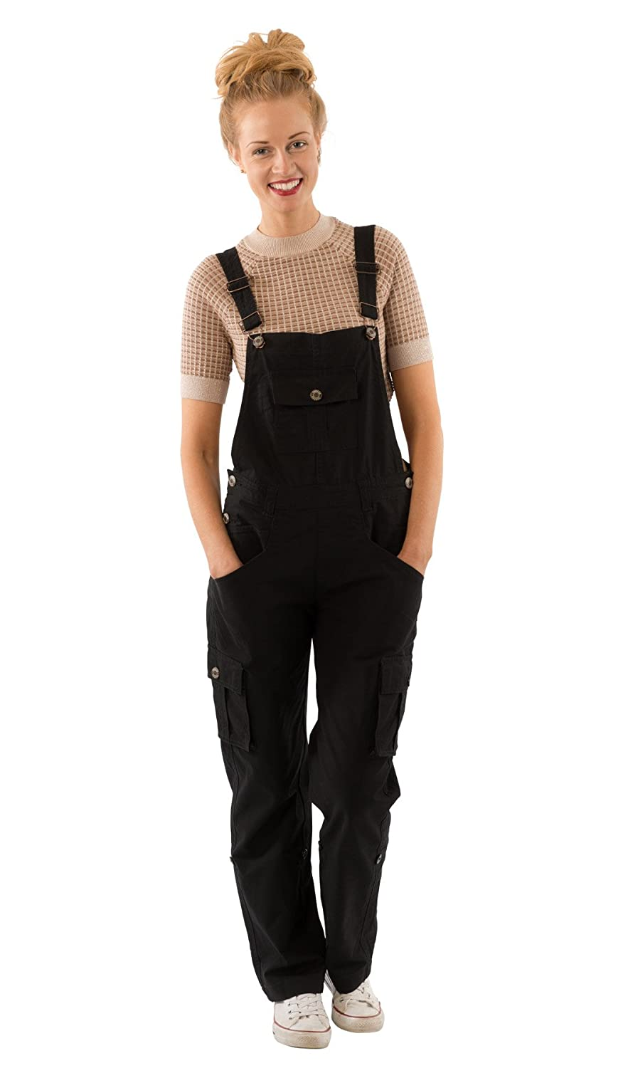 USKEES Daisy Women's Black Cotton Bib Overalls Loose Fit Roll-up leg Overalls