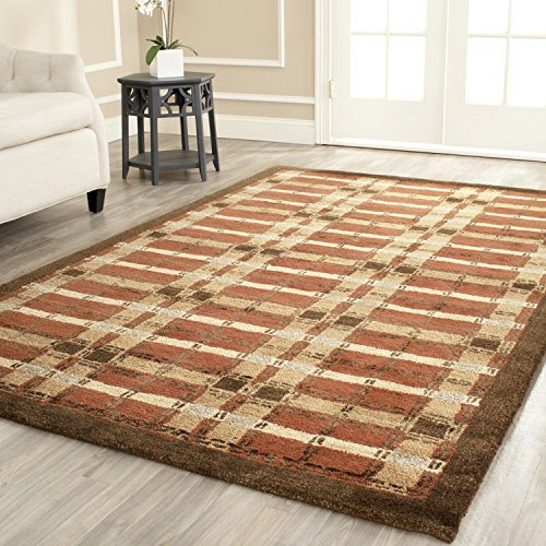 Safavieh Martha Stewart Collection MSR3613D Premium Wool and Viscose Color Weave Plaid October Leaf Red Area Rug (5' x 8')