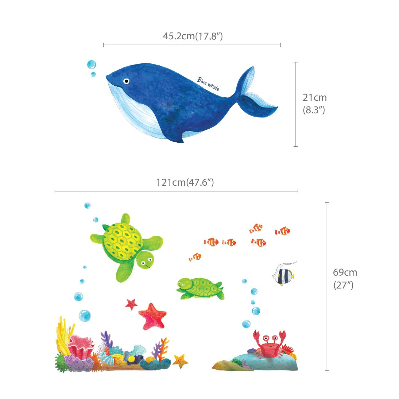 Small DECOWALL DS-8027 Under the Sea Kids Wall Stickers Wall Decals Peel and Stick Removable Wall Stickers for Kids Nursery Bedroom Living Room