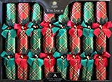 Tom Smith - Luxury Red & Green Christmas Crackers - Pack of 8 - Each Containing a Distinctive Surprise Gift