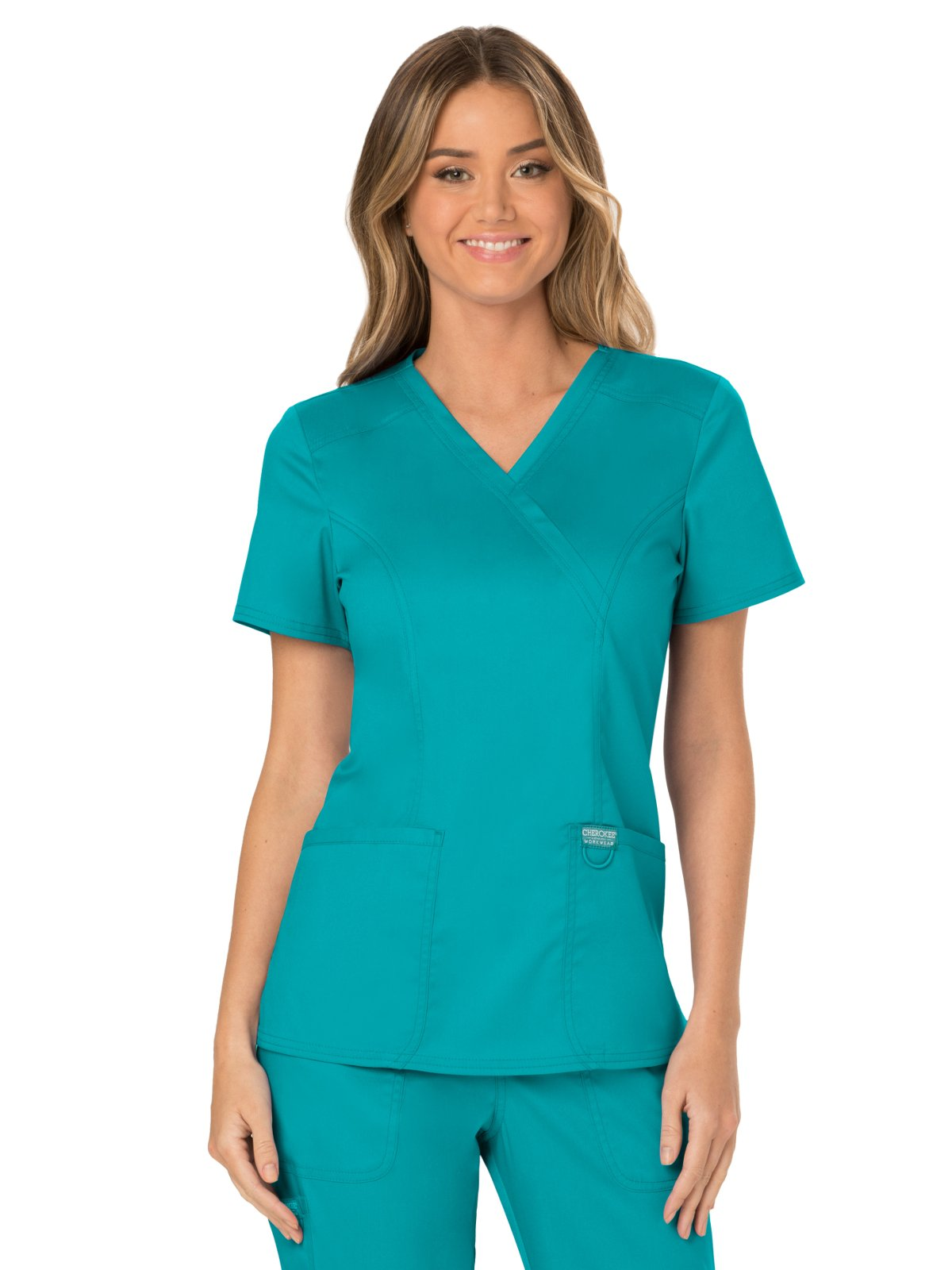WW Revolution by Cherokee WW610 Women's Mock Wrap Scrub Top, Teal Blue, M by WW Revolution by Cherokee (Image #1)
