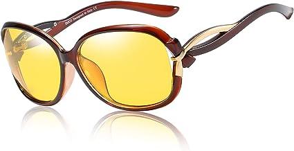 Duco Damen Hd Nacht Brille Für Autofahrer Frauen Elegante Ovale Nachtfahrbrille 2229y Braun Bekleidung