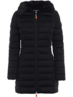 a723f4ebd78a Save The Duck Women's Long Stretch Coat Black 4 at Amazon Women's ...
