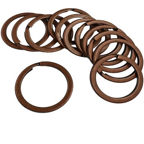 12Pcs Keyrings 28mm Flat Split Rings Jump Rings Connectors Vintage Copper