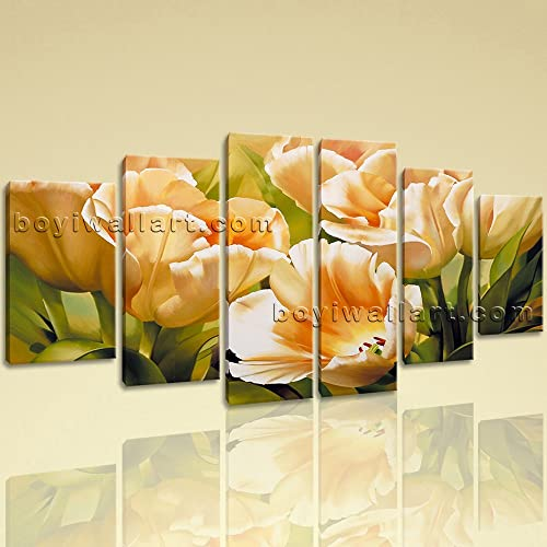 Amazon.com: Large Floral Wall Art Tulip Flower Canvas Abstract On ...