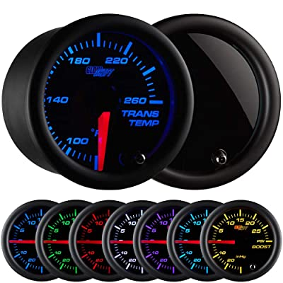 "GlowShift Tinted 7 Color 260 F Transmission Temperature Gauge Kit - Includes Electronic Sensor - Black Dial - Smoked Lens - for Car & Truck - 2-1/16"" 52mm: Automotive"