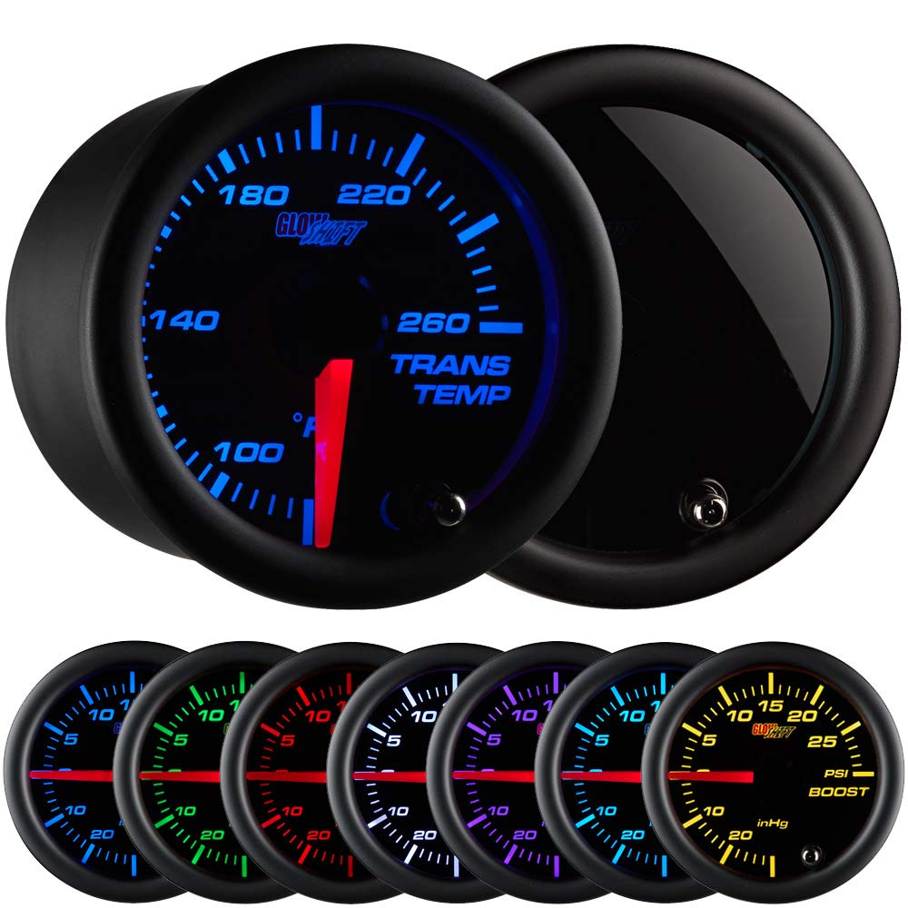 GlowShift Tinted 7 Color 260 F Transmission Temperature Gauge Kit - Includes Electronic Sensor - Black Dial - Smoked Lens - for Car & Truck - 2-1/16'' 52mm by GlowShift