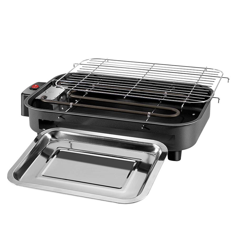 2000 W,Black Beini Portable Electric Smokeless Portable BBQ Indoor Barbecue Grill Water Filled Drip Tray