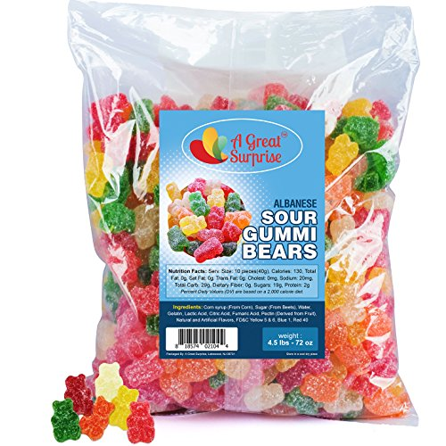 Sour Gummy Bears Bulk - Assorted Gummies - Gummi Bears Candy - Bulk Candy 4.5 LB