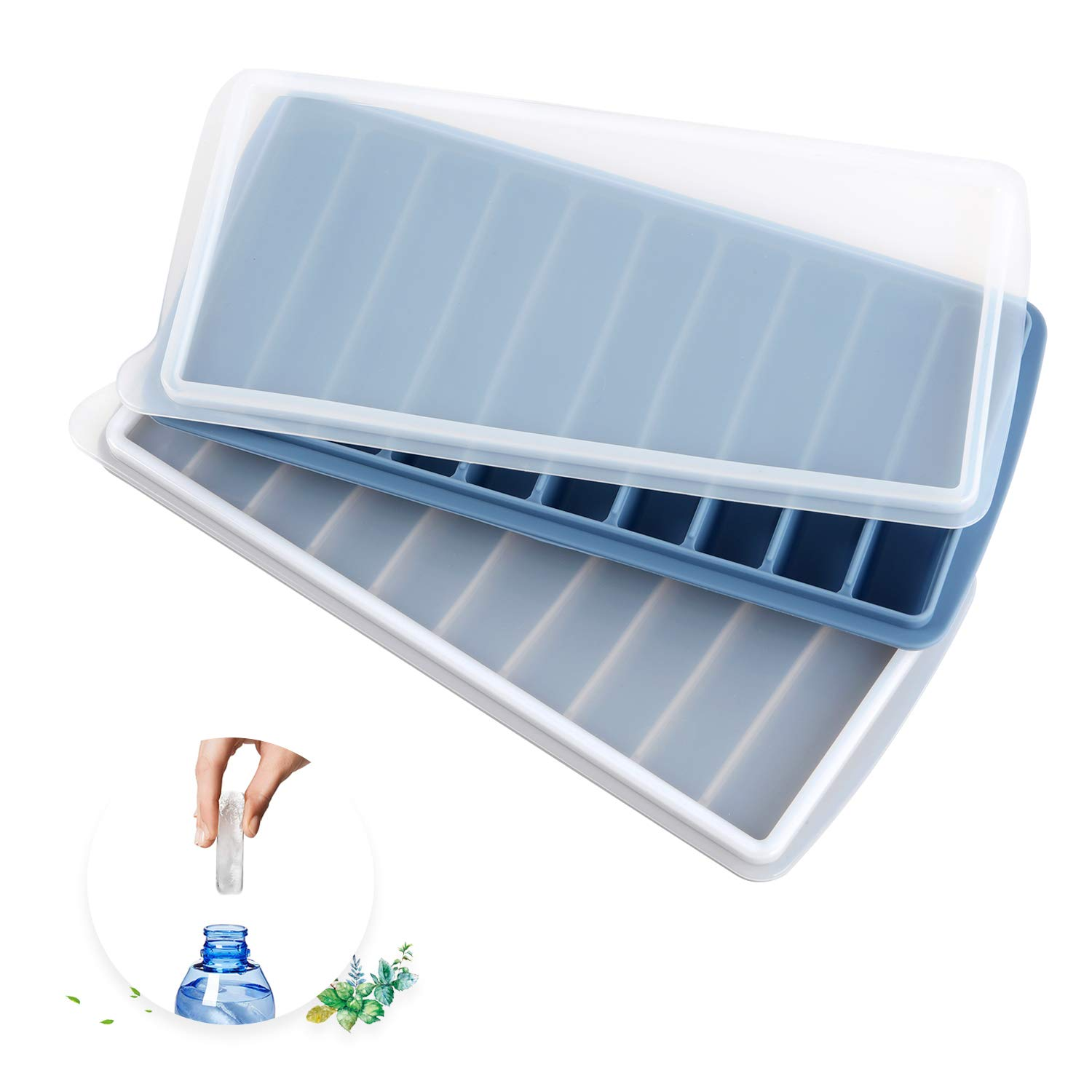Silicone Narrow Ice Stick Cube Trays with Lids, Easy Push and Pop Out Material, Ideal for Sports and Water Bottles